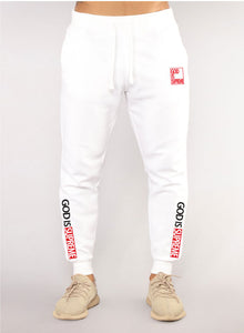 God is Supreme White/Red Joggers - God Is Supreme