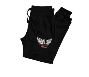 Fly High God is Supreme Logo/ Black Hoodie Joggers Set