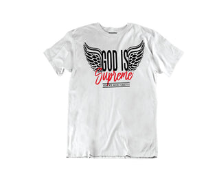Fly High God is Supreme Logo / White T-shirt