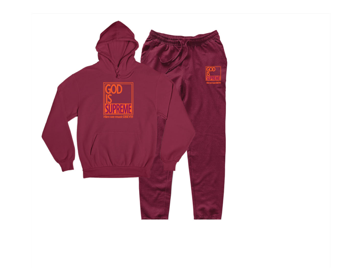 God is Supreme Athletic Orange Box / Maroon Hoodie
