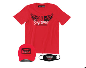 Fly High God is Supreme Logo / Red T-shirt