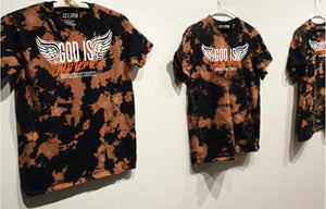 Fly High God is Supreme Logo Orange Tie Dye / Black T-shirt