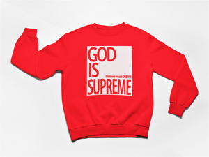 God is Supreme Original White Box/ Red Long Sleeves Sweatshirt