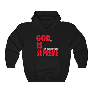 God is Supreme Red Retro /Grey Unisex Heavy Blend™ Hooded