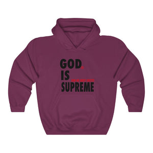 God is Supreme Black Retro /White Unisex Heavy Blend™ Hooded