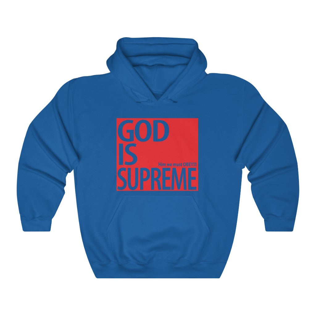 God is Supreme Red Box White Unisex Heavy Blend™ Hooded