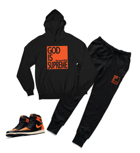 God is Supreme Orange Box/ Black Hoodie Joggers Set