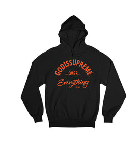 God is Supreme Over Everything Orange logo/ Black Hoodie Joggers Set