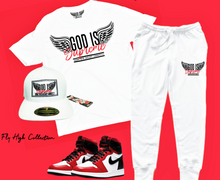 Fly High God is Supreme Red Logo  /White Joggers