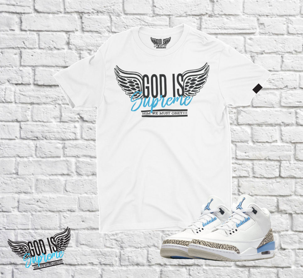 Fly High God is Supreme Sky Blue Logo  /White Joggers