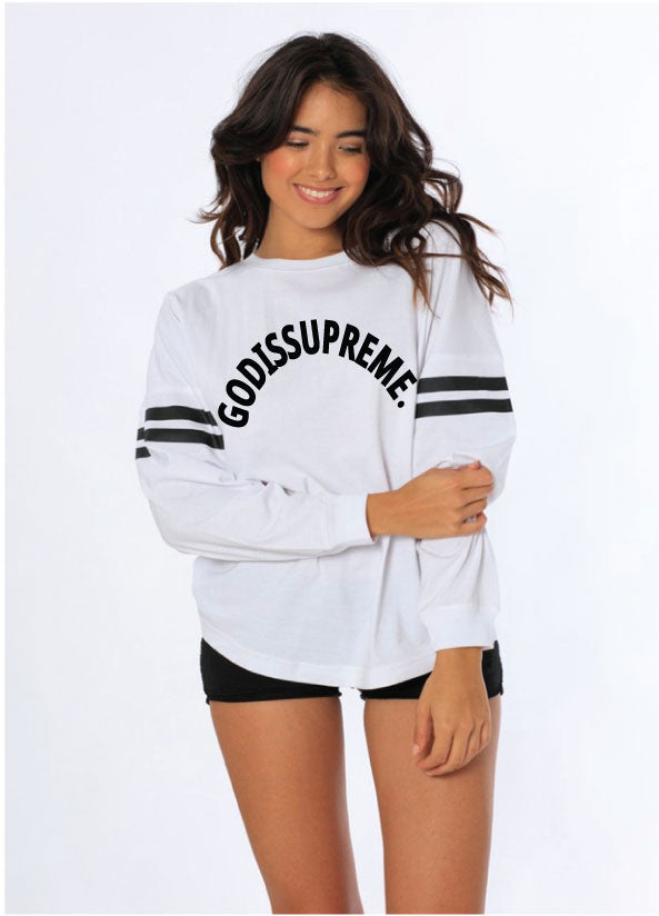 God is Supreme Curve Logo Lightweight Oversized White Long Sleeve
