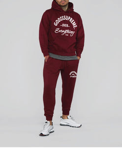 God is Supreme Over Everything Maroon Hoodie Jogger Set - God Is Supreme