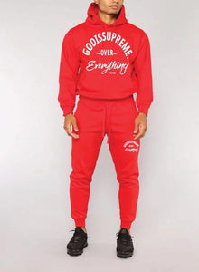 God is Supreme Over Everything Red Hoodie Jogger Set - God Is Supreme