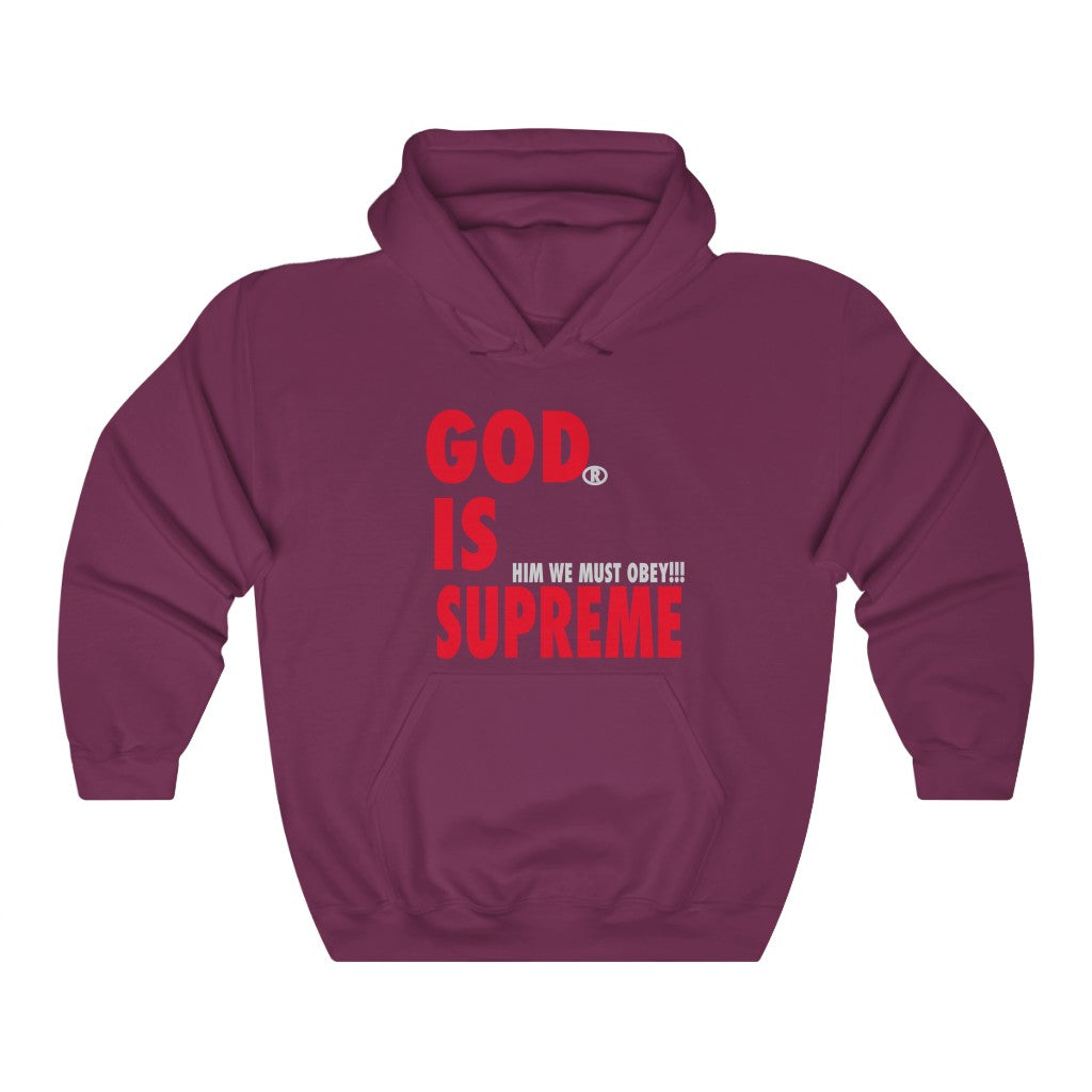 God is Supreme Red Retro /Black Unisex Heavy Blend™ Hooded