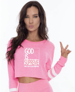 God Is Supreme Pink Cropped Long Sleeves Set - God Is Supreme