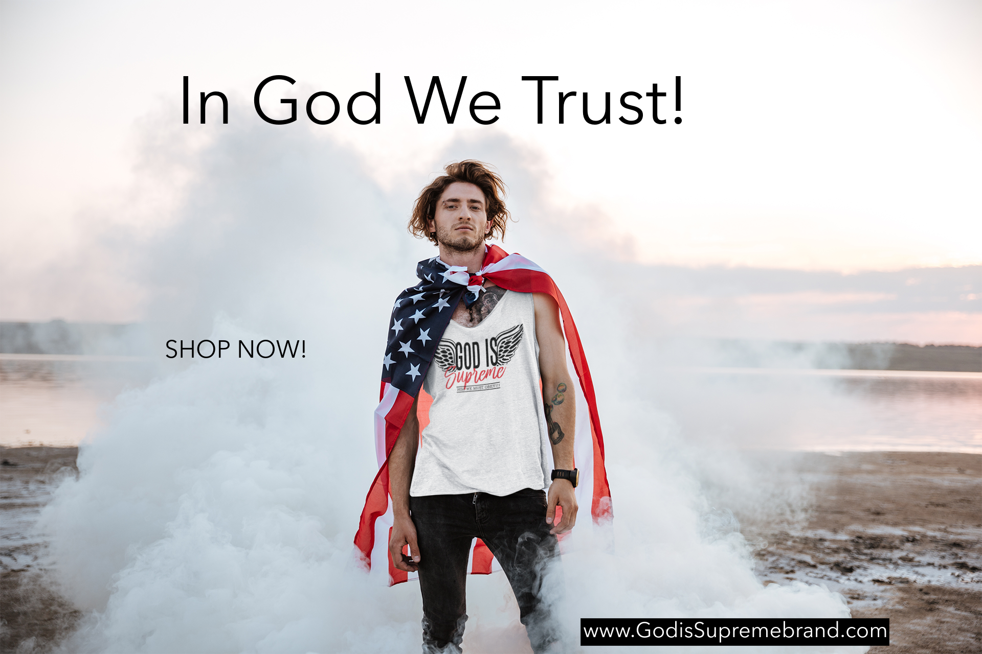 Fly High God is Supreme Unisex Tank Top (White)