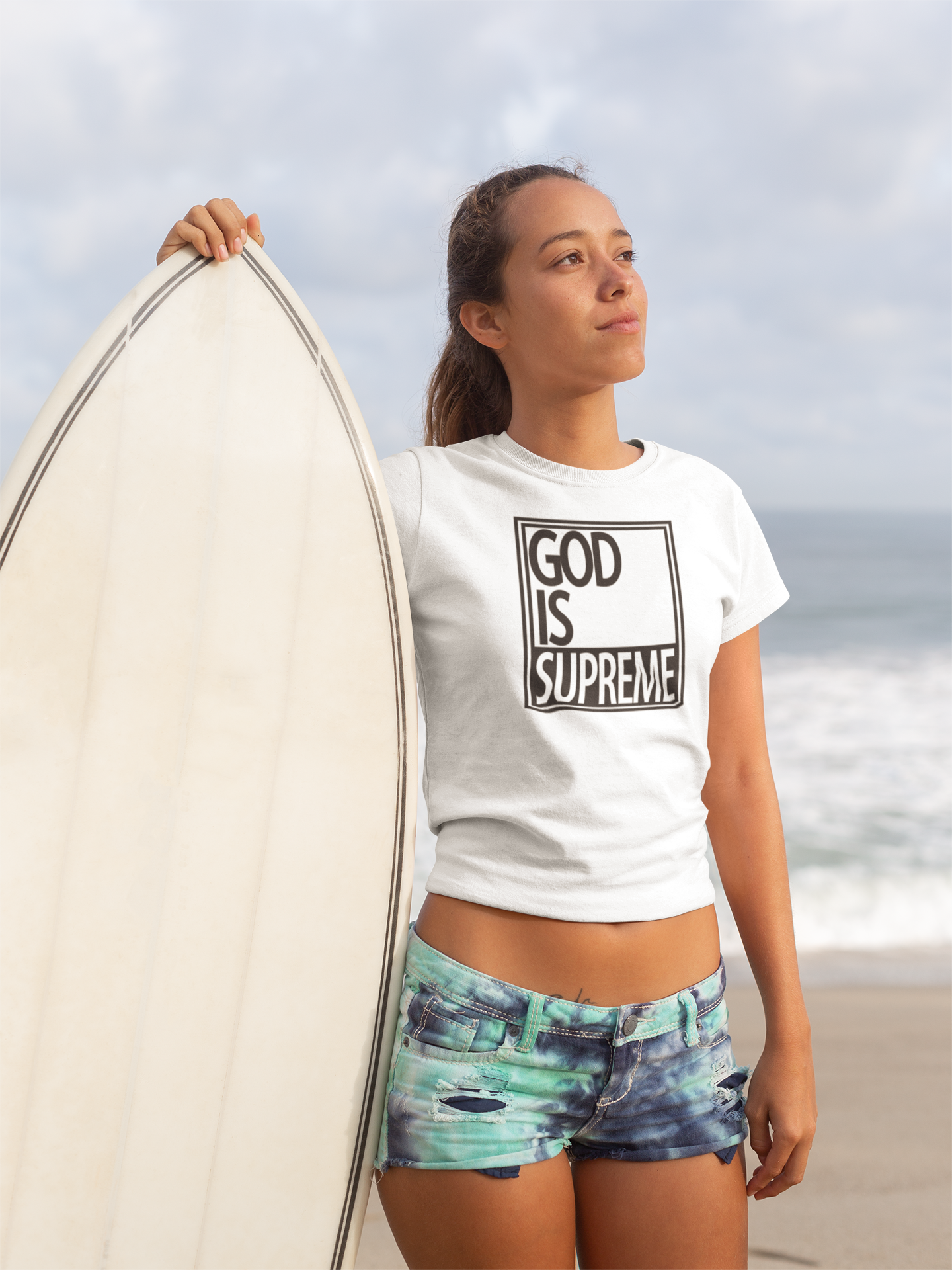 God is Supreme Women's Cropped Top (White) - God Is Supreme