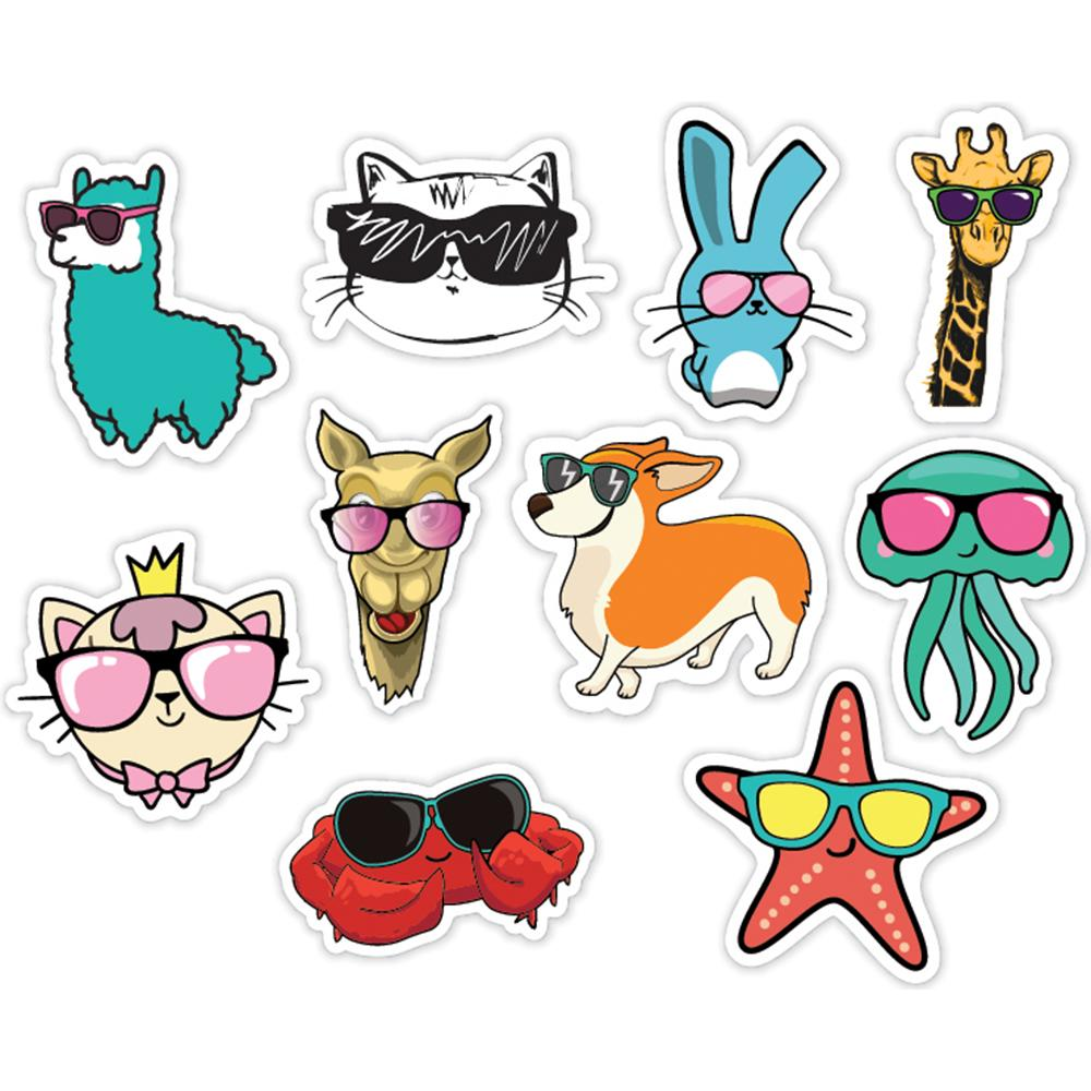 Chill Animals Style 10 Pack of Laptop Stickers
