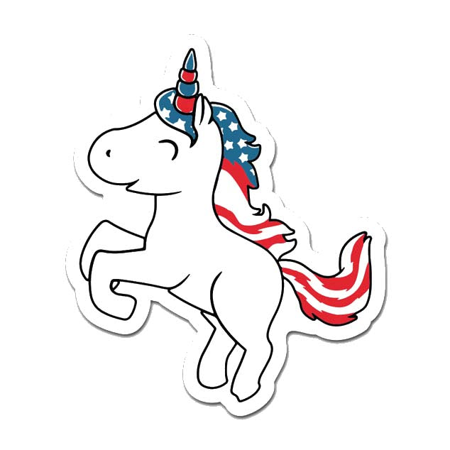 American Unicorn Laptop Sticker