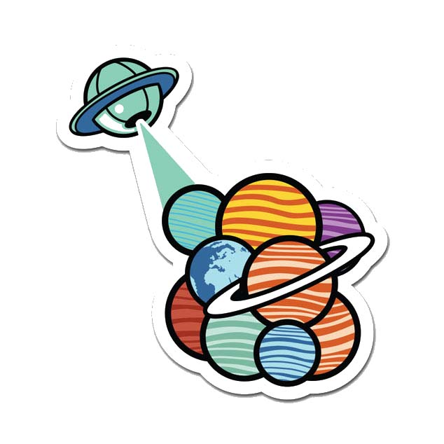 Alien Planets Laptop Sticker