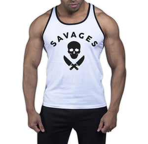 Savages White With Black Trim Tank Top