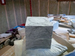 Direct Stone Method of Carving: Drawing the subject directly onto a piece of soapstone. Sculptor Cindy Presant