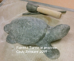 Painted Turtle carving in process, artist Cindy Presant