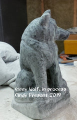 Grey Wolf carving in process, artist Cindy Presant
