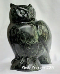 Great Horned Owl Carving in Canadian Soapstone, artist Cindy Presant