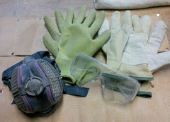 Dust mask, garden and leather gloves, eye protection.