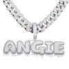 20MM Cuban Link Dripping Custom Name - White Gold