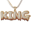 Red Dripping Custom Name Pendant - Gold