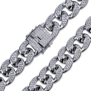 18mm Iced Cuban Link Chain - White Gold