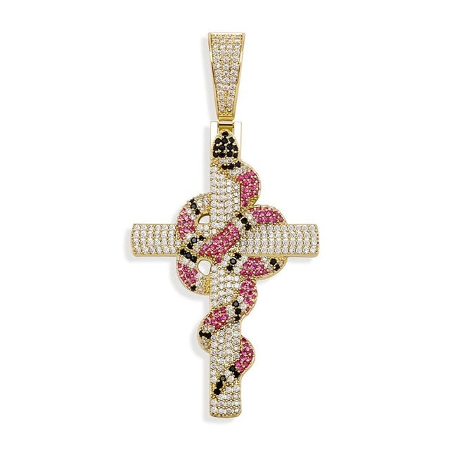 Iced Snake On Cross Pendant