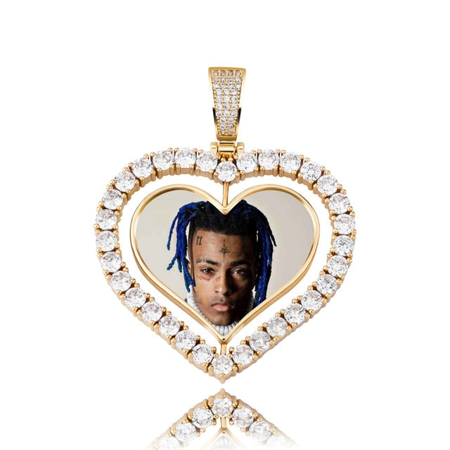 Iced Custom Double-Faced Heart Picture Pendant