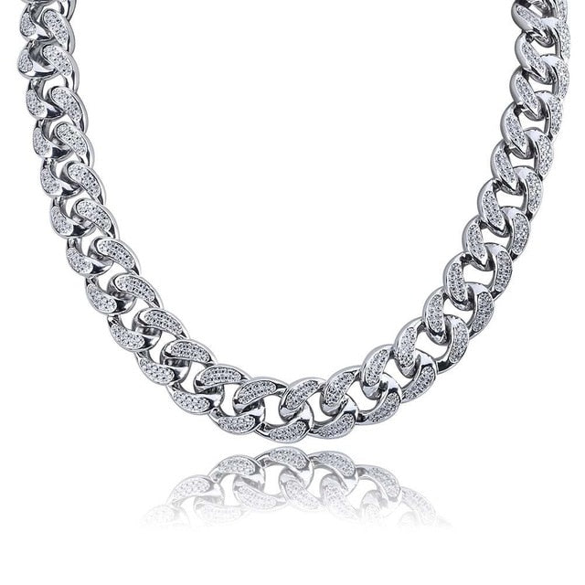 18mm Cuban Link Chain - White Gold