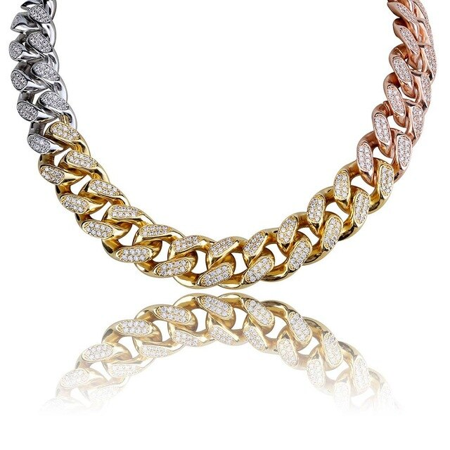 18mm Tri-Colored Iced Cuban Link Chain