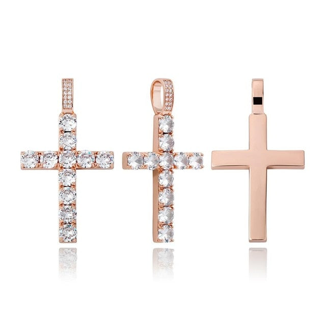 Iced Diamond Cross Pendant