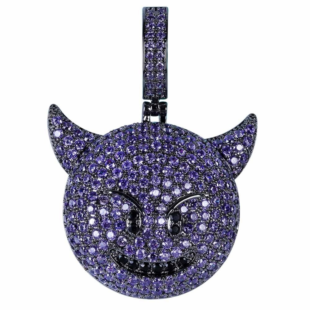 Iced Demon Emoji Pendant