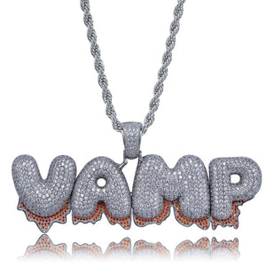 Red Dripping Custom Name Pendant - White Gold