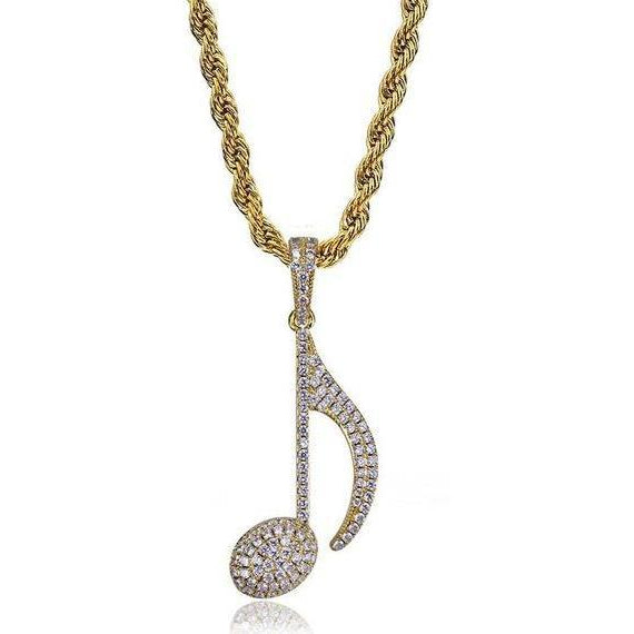 Icy Musical Note Pendant - Icedoutluxury