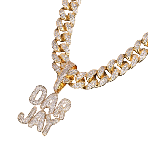 20MM Cuban Link Small Custom Name - Gold