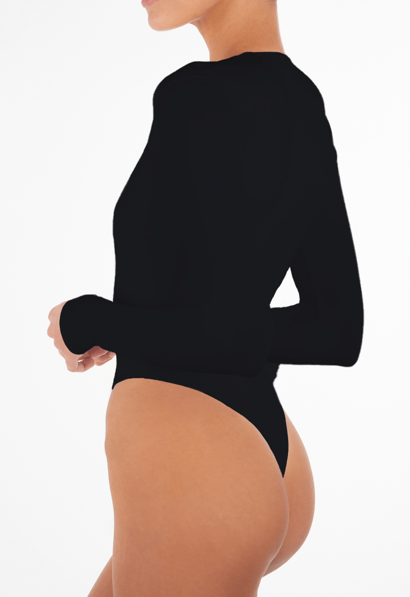 LONG SLEEVE DEEP V BODYSUIT BLACK - ÉTERNE