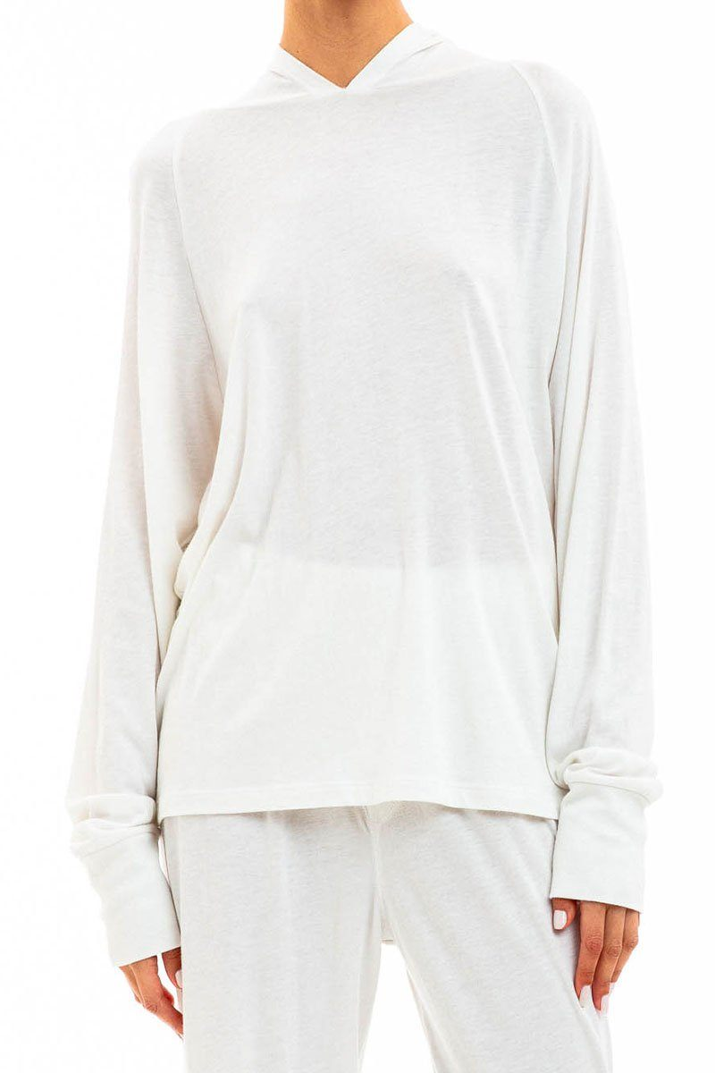 LONG SLEEVE HOODIE T-SHIRT IVORY Shirts Eterne
