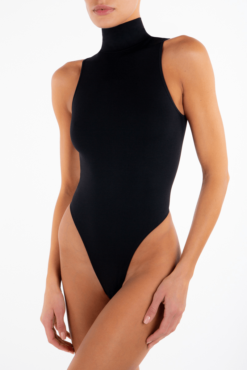 SLEEVELESS TURTLENECK BODYSUIT BLACK - ÉTERNE