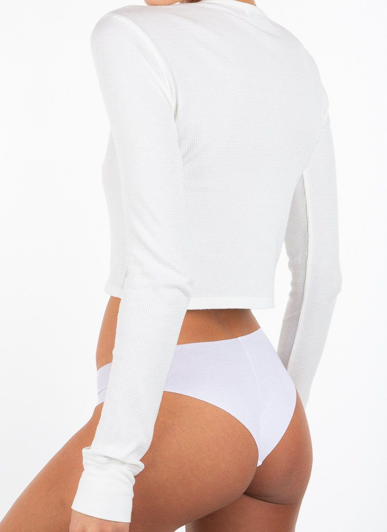 CROPPED LONG SLEEVE THERMAL WHITE - ÉTERNE
