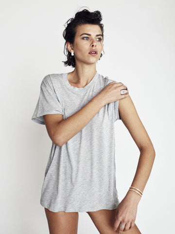 SHORT SLEEVE BOYFRIEND TEE HEATHER GREY