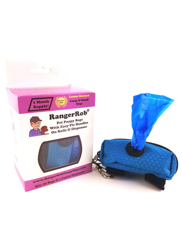 Premium RangerRob™ Pet Poopy Bags On Rolls, with Fabric Dispenser, For Dog Waste/Poop Disposal, Easy-tie Handles, Lemon Scented (Non Dusty), Eco-Friendly, Larger & Deeper Design, Qty. 60 Bags (on Rolls), 1 Dispenser