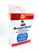 Load image into Gallery viewer, Premium RangerRob™ Pet Poopy Bags On Rolls, For Dog Waste/Poop Disposal, Easy-tie Handles for Large & Small Dogs. Lemon Scented (Non Dusty), Eco-Friendly. Built Stronger, Larger & Deeper, Qty. 120 (on Rolls)
