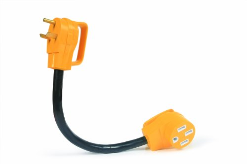 Camco RV Dogbone Electrical Adapter Easy PowerGrip Handle, 30 Amp Male to 50 Amp Female, 18